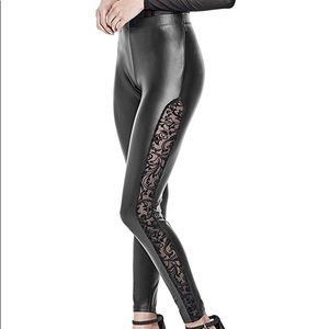 Small GByGUESS leather Rosita Sheer Leggings NWT